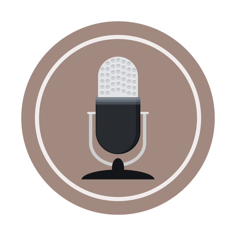 A circular logo with an icon of a microphone depicting a podcast