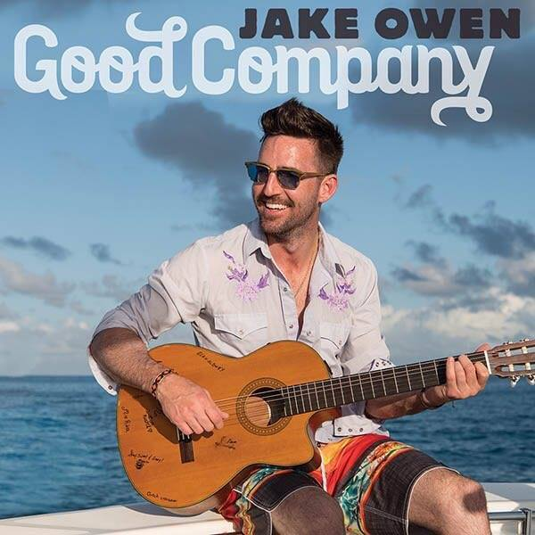 Podcast preview image of Good Company showing Jake Owen playing a guitar in front of water