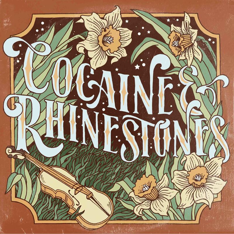 Podcast preview image of Cocaine & Rhinestones showing flowers and instruments