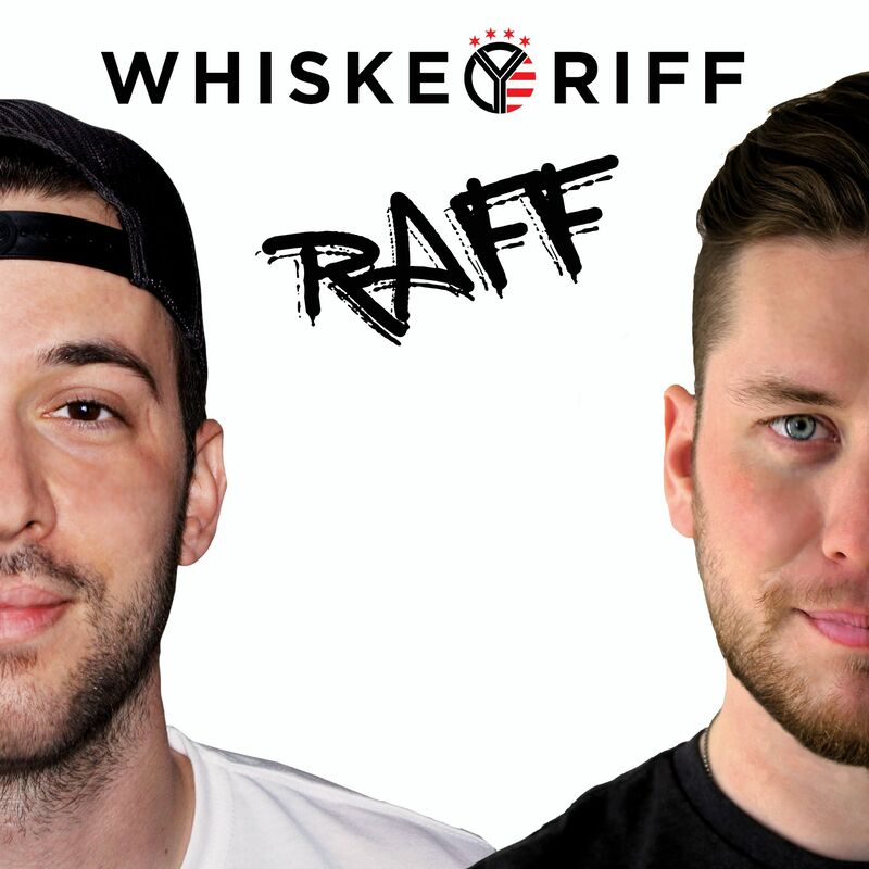 Podcast preview image of Whiskey Riff creators showing half of each of their faces