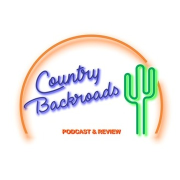 Podcast preview image of Country Backroads showing their logo with a cactus